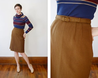 1950 Brown Wool Skirt - S/M