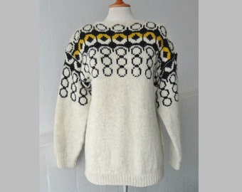 Ivory Vintage Sweater With Graphic Print // Black Yellow // Hand Made