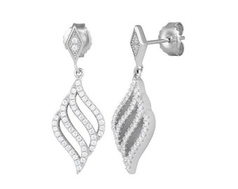 Sterling Silver Flame CZ Dangle Earrings Mothers Day Jewelry