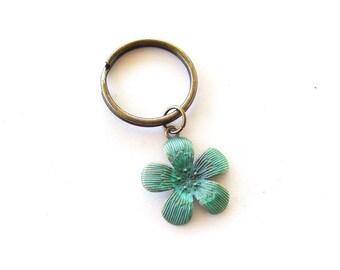Verdigris Flower Keychain, Turquoise Patina Antiqued Brass Flower, Floral Keychain, Patina Flower Key Ring, Turquoise Flower