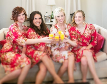 Red Bridesmaids Robe Sets Kimono Crossover Robe Spa Wrap Perfect bridesmaids gift, getting ready robes, Weddingl shower party favors