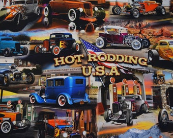 Route 66 Hot Rodding USA, Artworks III by Larry Grossman for Quilting Treasures.  Quilt or Craft Fabric, Fabric by the Yard.