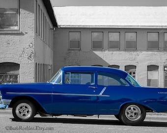 Blue Vintage Chevy - Wall Art - Classic Car Art Prints - Retro Print - Vintage Car Photography - Garage Art - Black & White - Blue - 8x12