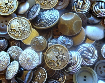 118 Vintage Gray & Silver Toned Buttons Various Sizes