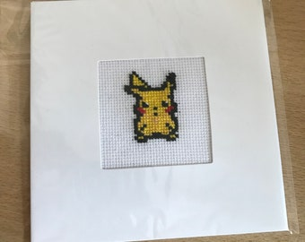 Pikachu Cross Stitch Frame-able Greetings Card