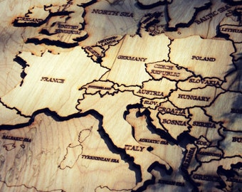 Wood Map of Europe Puzzle