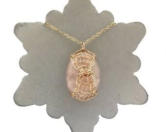 Rose Gold Rose Quartz Lattice Necklace - Handmade Rose Gold Necklace - Rose Quartz Necklace | Chakra Collection | Healing Crystal Jewellery
