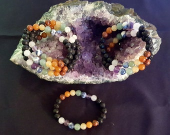 7 Chakra Essential Oil Diffuser Bracelet with 8mm Genuine Gemstone Beads and Black Lava Stone Beads