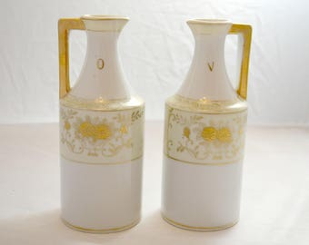 Oil and Vinegar Cruets - Hand Painted and Made in Japan