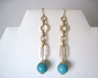 Turquoise earrings   turquoise and gold earrings