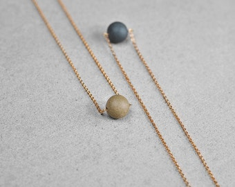 Ceramic pearl necklace, Ceramic necklace 24K gold filled necklace Chic necklace Minimalist necklace Anniversary gift-boohua