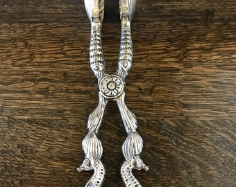 Vintage Nautical Seahorse Ice (or Serving) Tongs