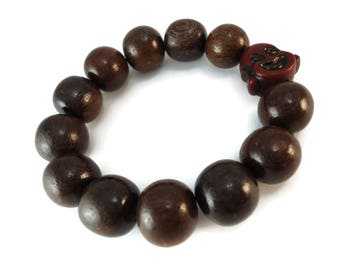 Chunky Wood Bracelet Buddha Bead Design, Stretch Bracelet Wood Beaded Jewelry, Womens Buddha Bracelet Brown Wood Beads Jewelry for Men