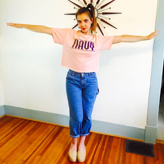 Vintage pink NAVY crop top, Pink oversized t-shirt, women's t-shirt, boxy cropped top