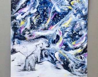 Print of an original painting of a polar bear star gazing at the universe.