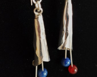 Earrings Calla Lily Sterling Silver Lapis Lazuli and Garnet Handcrafted 3 inches Long Jewelry by Jennell (JxJ)