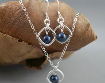 Bridal party sterling silver jewelry set, Necklace & earrings, Bridesmaid gift, Sterling silver pendant, Swarovski pearls, Dangle earrings,