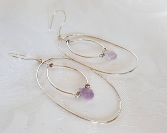 Sterling Silver Earrings with Amethyst Crystal, Purple Crystal Sterling Silver Earrings, Earrings