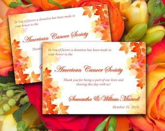 "Wedding Favor Donation Card Template - Autumn Wedding Charity Favor Donation Card ""Watercolor Fall"" Burnt Orange Red - Fall Wedding Favor"