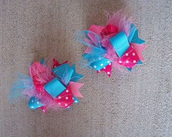 Hair Bows Set of 2---Mini Funky Fun Over the Top Bows---Pink and Turquoise---Perfect for Spring and Summer