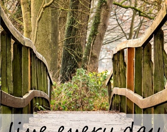 Empowering Quote 'live every day with intention' on 12 landscape backgrounds