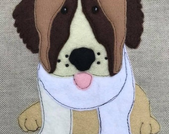 St Bernard Raw Edge Applique, Machine Embroidery Pattern, 5x7 and 6x10, by Pixie Willow Patterns