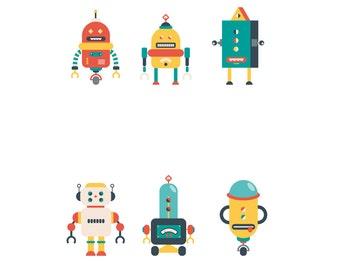 3 Robots Mix SET- Robots - Poster  - Ilustracion Vintage  - Hipster - Regalos Bebe  - Arte Infantil - Tamaños Combinados A3+A4