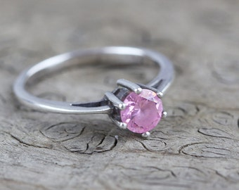 Pink Round Cut Glass Set Stone Raised Centre Sterling Silver 925 Ring US size 8.75 UK size R