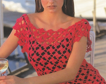 Vintage crochet pattern crocheted top cover up summer top pdf INSTANT download pattern only
