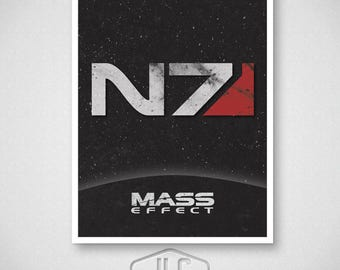 Mass Effect Video Game Poster, N7 Print