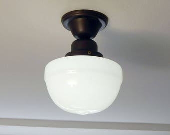 Semi Flush Schoolhouse Light. Vintage Opal Shade New Fixture Base