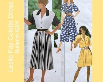 """90s Vintage sewing pattern, Butterick 6201, Misses Culotte Dress, 2 lengths, Designer Leslie Fay, Size 12, 14, 16; Bust 34"""", 36"""", 38"""""""