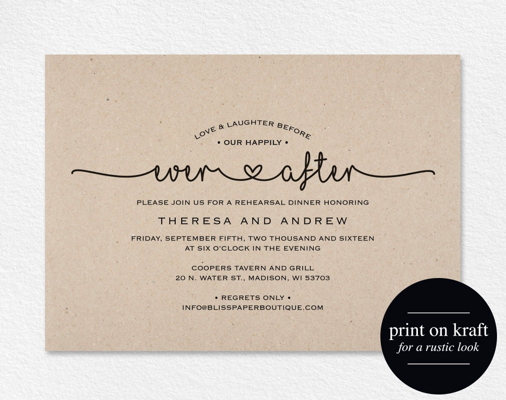 Pre Wedding Dinner Invitation: Rehearsal Dinner Invitation Love And Laughter Before Our