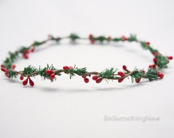Christmas Flower Crown, Simple Greenery Hair Wreath with Red Berries Holiday Hair Accessory, Christmas Wedding Halo