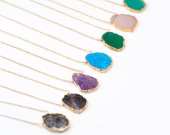 Gemstone Slice Pendant Necklace, Layered Necklaces, Electroformed Slice, Gold Necklace, Layering Jewelry, Boho Jewelry, Framed Stone, Gifts