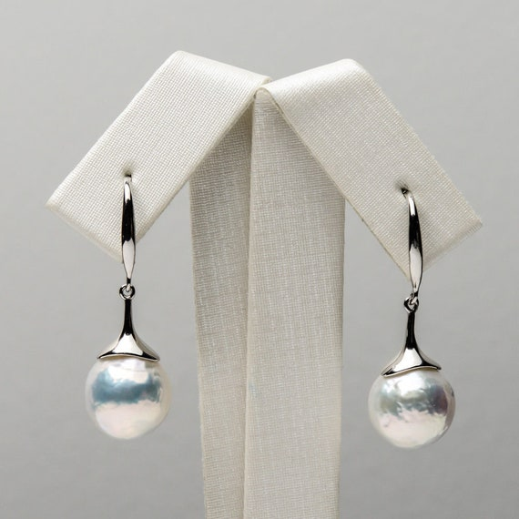 Beautiful sterling silver natural rainbow white Kasumi pearl earrings 11-12mm pearls