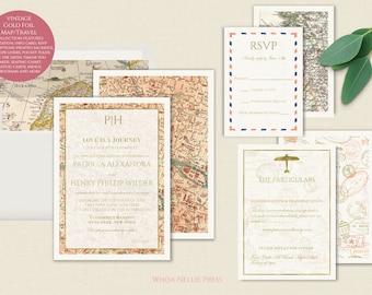 Travel Wedding Invitations - Featuring Gold Foil and Vintage Maps - Destination Wedding Stationery - Romantic Classic Elegant
