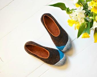 "Boiled Wool Felt Womens Slippers in brown and orange ""Multi"" by Indre Naujokiene"