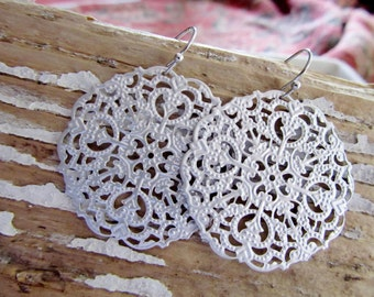 Silver Round Filigree Earrings, Metal Lace, Iron Stamping, Boho, Lightweight, Intricate Silver Earrings, Redpeonycreations