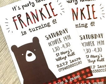 Childs birthday party invitation pack / kids / boys / printed on quality card / personalised / bears / animals / disco