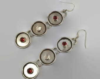 "Tourmaline Earrings, Sterling Silver, Circle Dangle, Long Earrings, Vintage Modern, 3"" Long, Pierced, Big Statement, Contemporary, Boho"