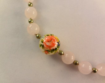 Rose Quartz Necklace, Tensha Beads, Long Beaded Necklace, Woman's Necklace