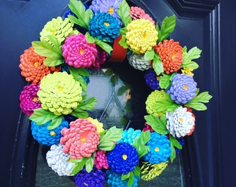 Zinnias Pinecone Wreath, Zinnia Door Hanger, Front Door Wreath, Pinecone Flowers, Spring Wreath, Easter Wreath for Front Door, Gift For Mom