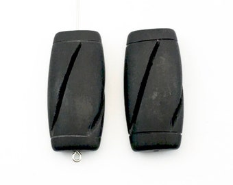 2 carved mat black onyx  stone beads/ 17mm x 36mm #PP262