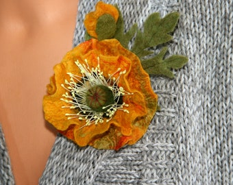 Bright yellow poppy brooch Wool boho style flower Mother day gift Felted jewelry Handmade poppy pin