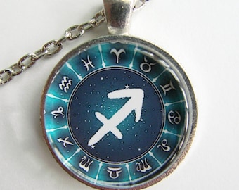 SAGITTARIUS ZODIAC SIGN Necklace -- Sagittarius the Archer, November and December birth months, Zodiac symbols and stars