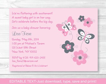 Pink Butterfly Baby Shower Invitation INSTANT DOWNLOAD Editable PDF A351