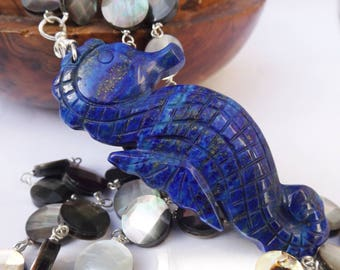 Animal pendant, lapis pendant, sea horse pendant, handcarved pendant, shell necklace, black lip shell, sterling silver, sea and surf