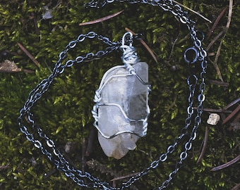 Rough Clear Quartz Point Handmade Wire Wrapped Pendant Necklace
