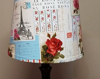ON SALE Postcard from Paris lamp shade, Shabby Chic Decor, Lampshade, Paris lamp shade, wrapped lampshade, shabby chic, gift for her,  custo
